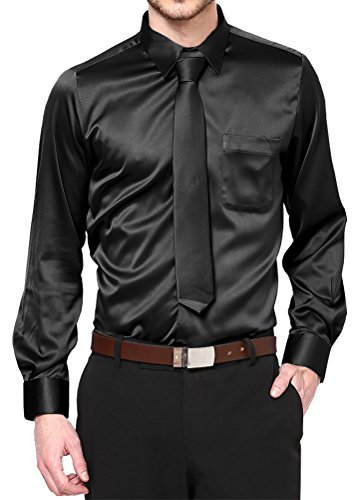 Black Satin Dress Shirt with Neck Tie and Hanky Kids to Youth Sizes (Kid's 08)