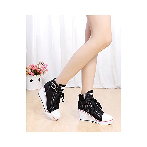 Canvas Wedge Pump Women's High 5 Fashion OCHENTA Platform Black Heeled Sneaker Shoes 5AXnwq