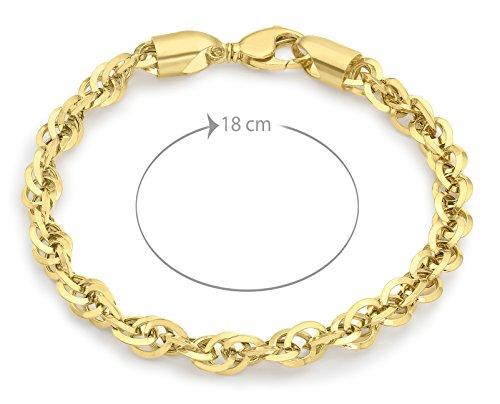 Carissima or 9 ct Coupe diamant or jaune 100 Prince of Wales Chaîne Bracelet de 18 cm cm