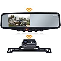 Wireless Backup Camera System, IP69K Waterproof Wireless License Plate Rear View Camera, Night Vision and 4.3'' Wireless Mirror Monitor for Cars, Trailer, RV, Pickup Trucks, Cargo Vans, etc.