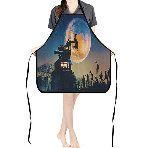 Jiahong Pan Adult Apron Waitresses Apron Dead Queen in Castle and Zombies in Cemetery Love Affair Bridal Halloween Cooking Kitchen Aprons for Women MenK26.6xG27.6xB10.2 ()