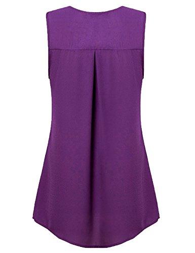 Jazzco Blouses for Juniors,Women's Sleeveless Elegant Tank Tops Casual Flowy V Neck Basic Fashion Summer Shirt for Business Work for Leggings(Voilet,Large) by Jazzco (Image #1)