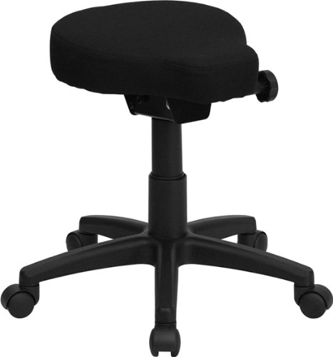 Flash Furniture Black Saddle-Seat Utility Stool with Height and Angle Adjustment