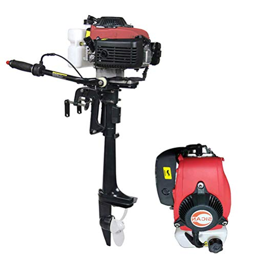 CLIENSY 4HP 4 Stroke Outboard Motor Boat Engine, Heavy Duty 52CC Boat Motor with Air Cooling CDI System