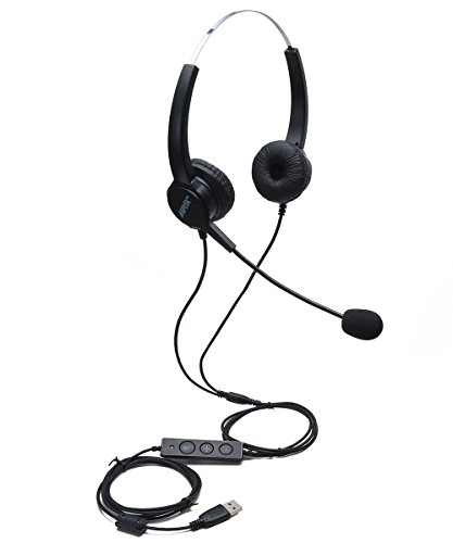 AGPtEK USB Stereo Binaural Headset Corded Call Center Headphone with Noise-Canceling Mic and Volume Control - for Phone Sales, Telephone Counseling Services, Insurance, Hospitals, Telecom Operators