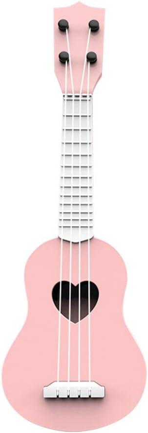 NUOBESTY Niños Ukelele Guitarra pequeña 4 Cuerdas Instrumento Musical Juguetes educativos de Aprendizaje con partitura Musical Regalo de Fiesta para niños niños Estudiantes Principiantes (Rosa Claro)