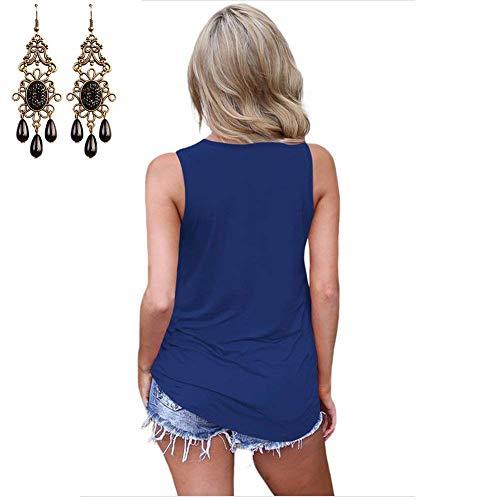 Estivi V Off Puro Casual Alto Grazioso Shirts Camicette Shoulder Mare Stlie Colore neck Camicetta Blau Donna In Smanicato Canotta Eleganti YIxpqER