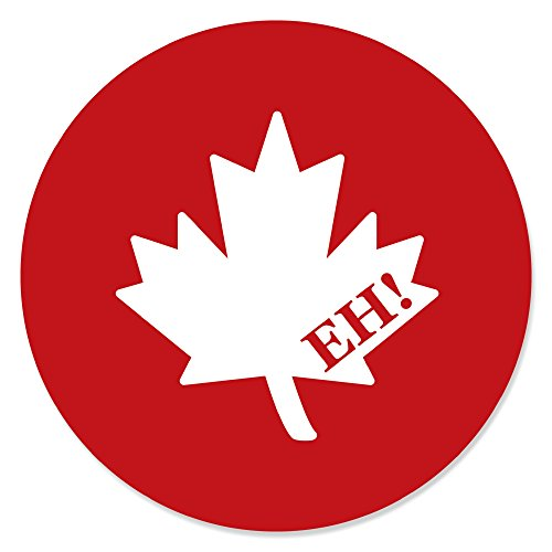 Canada Day - Canadian Party Circle Sticker Labels - 24 Count (Canadian Leaf Stickers Maple)