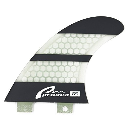 Prosea FCS18 Surfboard fins FCS Base Surfing thrusters Made of Fiberglass and Honeycomb with 1 Key and 6 Screws (Black and White)