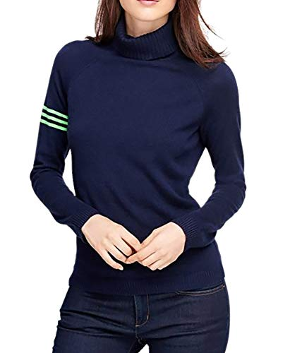 (Brooks Brothers Womens Ribbed Turtle Neck Striped Sleeve Sweater Navy Blue (Large))