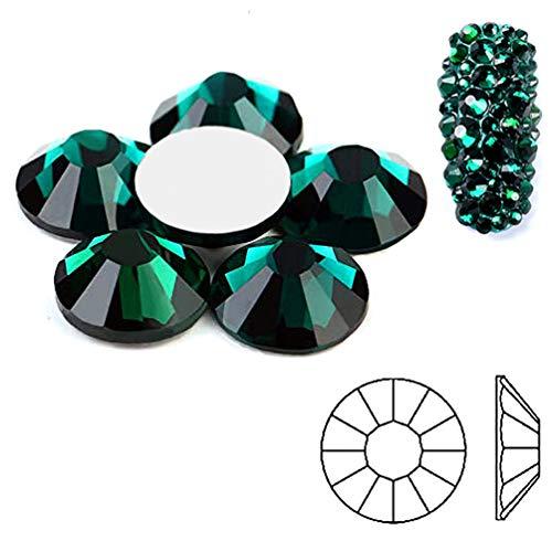 Emerald Glass Gems (291) NEW 2088 Xirius Flat Back Green Rhinestones1440pcs/bag Shining Decorations for Nails Art Rhinestone Non Hot Fix Glass Crystals Rhinestones Ab Stones Round Beads for Nail (ss6)