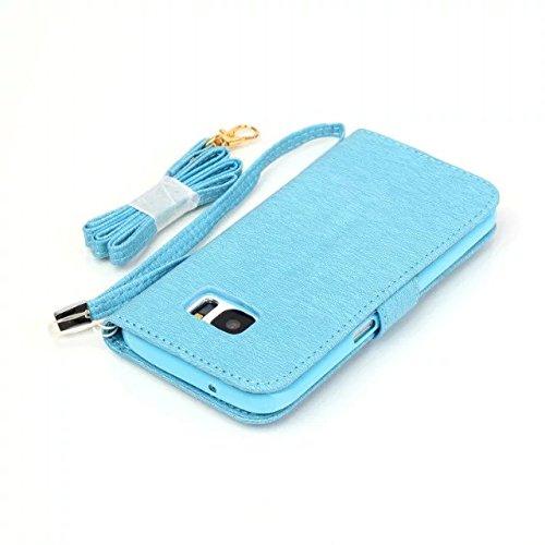 SRY-Funda móvil Samsung Caso de Samsung S7, caja de estilo de la cartera de patrón de colores pintado diseño magnético flip folio cubierta de la cubierta de cuero de la PU para Samsung S7 ( Color : Wh Blue