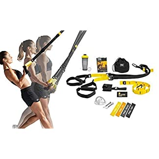 TRX-All-In-One-Home-Gym-Bundle-Includes-All-In-One-Suspension-Trainer-Indoor-Outdoor-Anchors-TRX-XMount-Wall-Anchor-4-Exercise-Bands-Shaker-Bottle