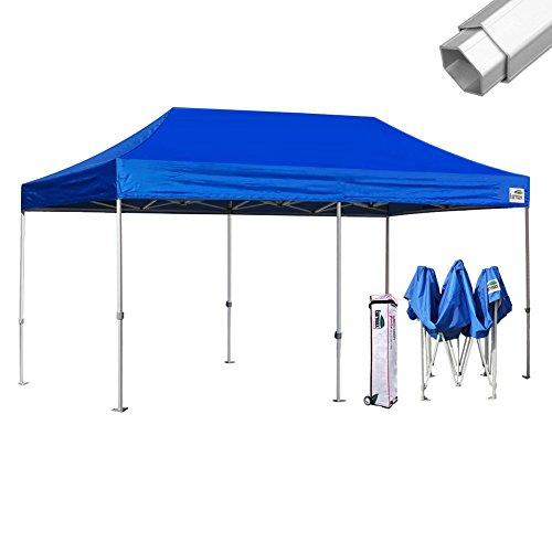 Eurmax Professional 10x20 Ez Pop up Canopy Wedding Partytent Instant Outdoor Gazebo Aluminum Frame Commercial Grade Bonus Roller Bag (Blue)
