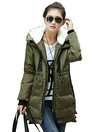 Amazon.com: Kattee Women's Hooded Long Down Coat Warm Winter Outerwear (CN Large = US 16, Army