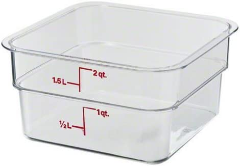 Cambro 2SFSCW135 CamSquare Polycarbonate Square Food Storage container, 2 Quart, 2-units by Cambro