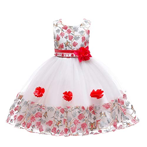 JIANLANPTT Pretty Cute Girl Flower Belt Dresses Kid Special Occasion Dress for Wedding Lace Party Dress 5-6Years White Red ()