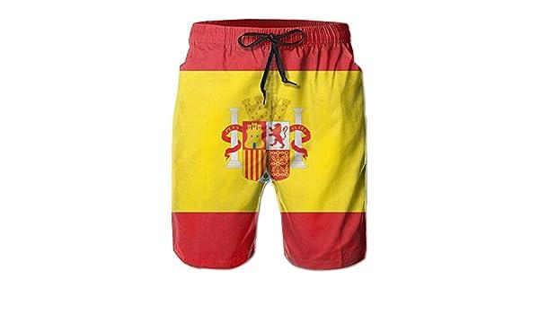 Verano de los Hombres Bandera de Futbol españa Bañador para Correr de Secado rápido Pantalones Cortos Boader Bañador de Playa Deportes: Amazon.es: Ropa y accesorios
