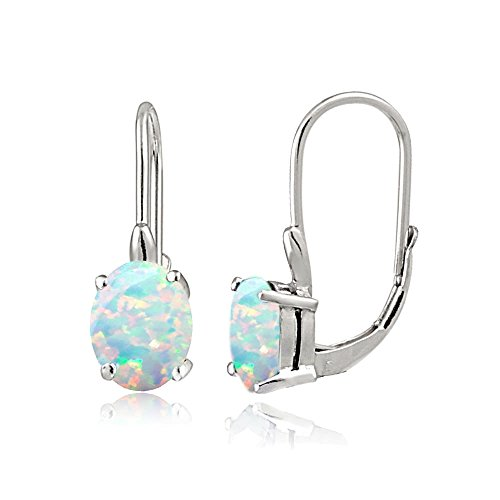 Sterling Silver Created Opal Oval Leverback Earrings Created Opal Leverback Earrings