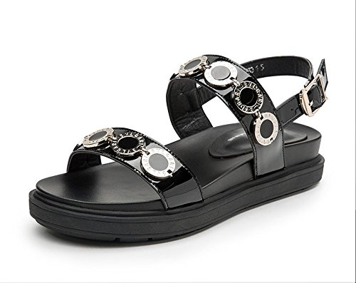 Sandals Xing End Toed Buckle Open Sandals Women'S Casual The Ladies Lin Shoes Of At Fashion Black New Summer ArZrEwz6q