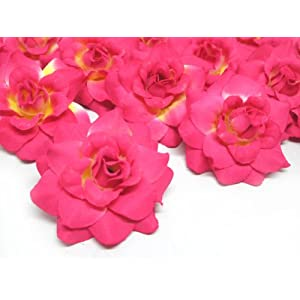 "(24) Silk Hot Pink Roses Flower Head - 1.75"" - Artificial Flowers Heads Fabric Floral Supplies Wholesale Lot for Wedding Flowers Accessories Make Bridal Hair Clips Headbands Dress 98"