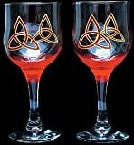 Celtic Glass Designs Set of 2 Hand Painted Wine Glasses in a Celtic Trinity Knot Design.
