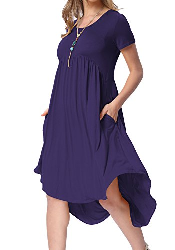 (Womens Simple Solid Round Neck Pleated Pockets Casual Shift Dress Deep Blue XL)