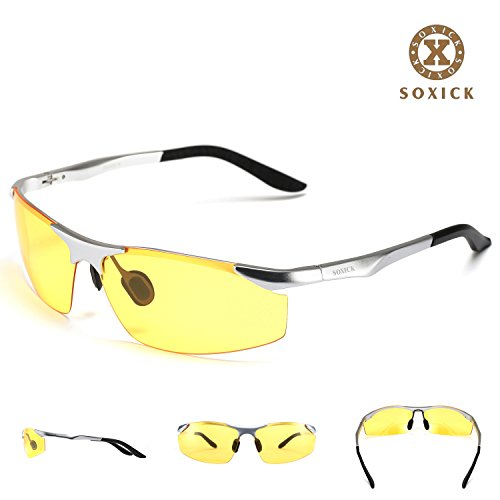 SOXICK HD Polarized Night Driving Vision Glasses Anti Glare with Protection lasses Flexible Frame (Silver Frame, Yellow - Lasses Glasses With