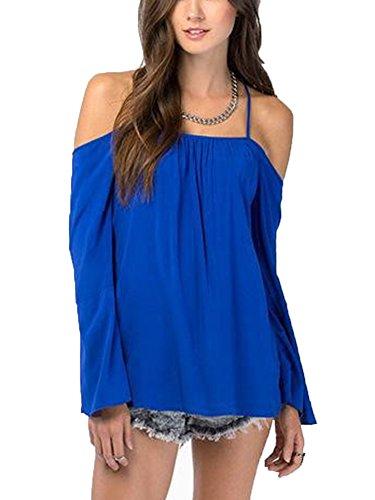 LaoZan Camisa Manga Larga Sin Espalda De Las Mujeres Blusa De Gasa Camisetas Para Mujer Azul