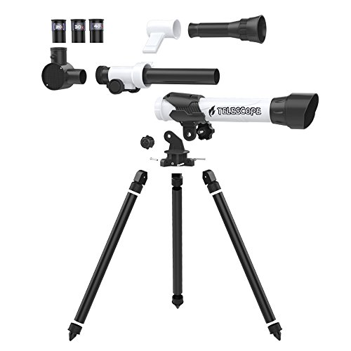 Kids Telescope - ToyerBee Kids Telescope, DIY kids Telescope for Beginners, Early Development Science Toys, Three Different Magnification Eyepieces, Finder, Sky Observe, Tripod, Easy Operation, Detachable by