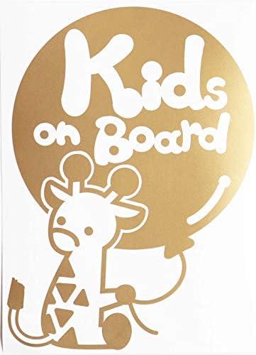 ゴールド(金) Kids on board きりん キリン 動物 ステッカー 窓ガラス シール キッズ イン ザ カー ※吸盤・マグネットタイプではあ.