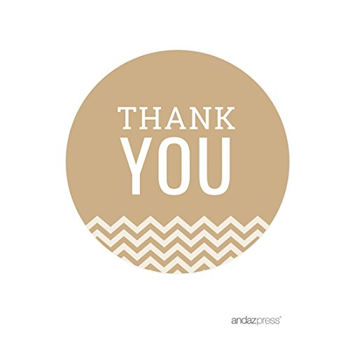 Andaz Round Circle Gift Label Stickers Chevron Style Thank You Tan Latte 40Pack