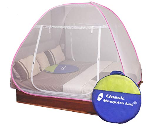 Classic Mosquito Net, Double Bed King Size Bed, Polyester Foldable – Pink
