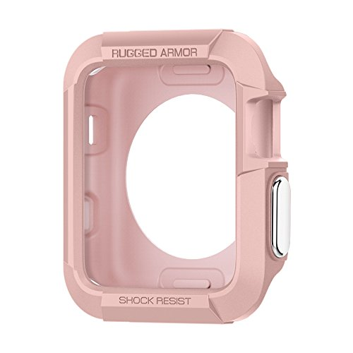 Spigen Rugged Armor Apple Watch Case with Resilient Shock Absorption for 42mm Apple Watch Series 3/Series 2/1/Original (2015)/Nike+ Sport Edition - Rose Gold