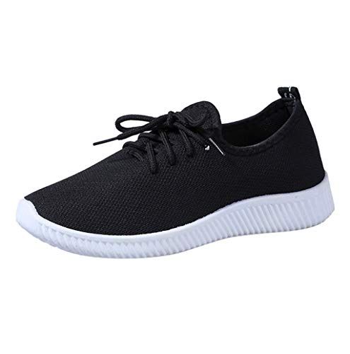 Price comparison product image Women Fashion Pure Lightweight Breathable Flat Shoes Lace up Comfortable Walking Shoes Sopzxclim Black