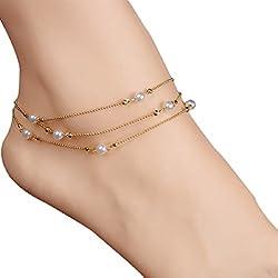 Doinshop Women Lady Hamsa Tribal Barefoot Jewelry Tassel Anklet Chain Wedding Party (Bead Tassel)