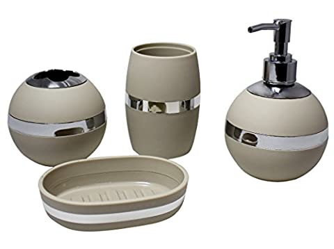 JustNile 4-Piece Complete Bathroom Set, Durable Plastic & Silver Chrome Finish; Soap Dish, Toothbrush Holder, Water Tumbler, Soap Dispenser; Minimalist and Off-Grey - Chrome Finish Plastic