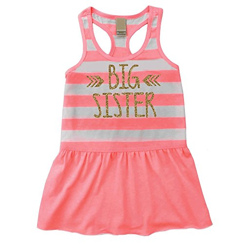 Bump and Beyond Designs Big Sister Dress, Baby Girl Clothes, Big Sister Outfit Summer Tank Dress (4T)
