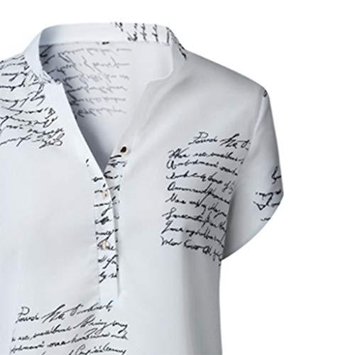 Yezijin_Women's Wear YEZIJIN Sunmer Women V Neck Letters Printing Button Short Sleeve T-Shirt Tops Blouse -