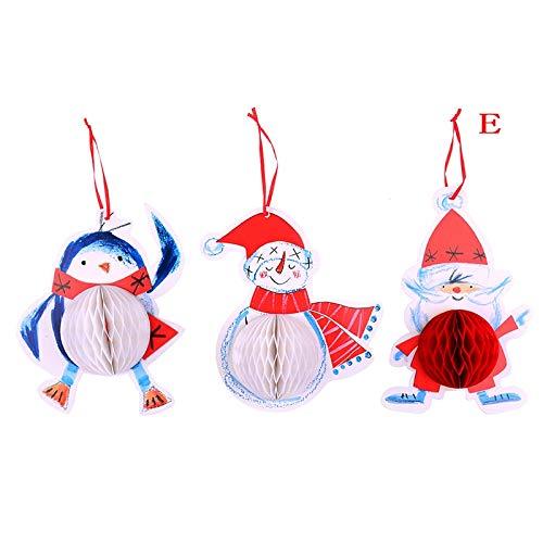 Pendant & Drop Ornaments - Santa Claus Snowman Penguin Xmas Paper Ball Pull Flowers Christmas Tree Honeycomb Party Decoration - Paper Inflatable Tree Penguin Lantern Penguin Stick Ball Swine Pig