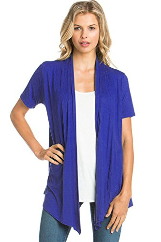 12 Ami Basic Solid Short Sleeve Open Front Cardigan Royal Blue Medium