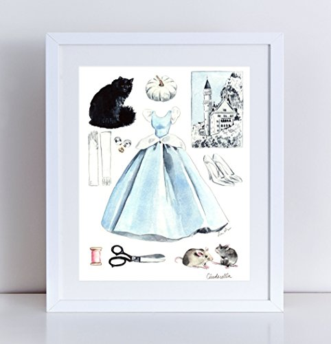 Cinderella Giclee Print of Original Watercolor Painting 8 x 10, 11 x 14 inches Fine Art Poster Disney Princess Castle Dress Glass Slippers Classic Fairytale Tinkerbell Storybook Grimm (Home Made Mouse Costume)