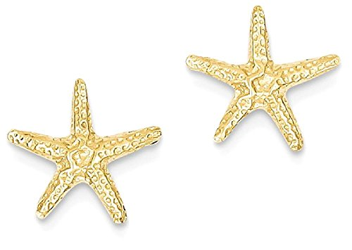ICE CARATS 14k Yellow Gold Starfish Post Stud Ball Button Earrings Animal Sea Life Fine Jewelry Gift Set For Women (14k Gold Starfish Earrings)