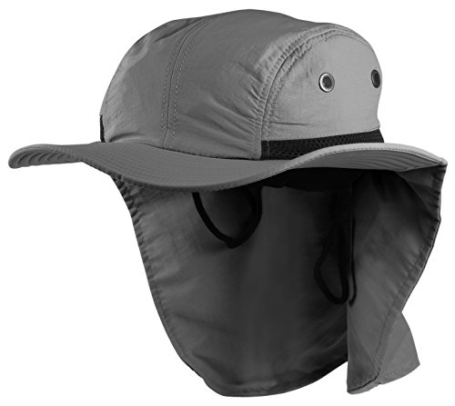 58b3407dbce Enimay Sun Hat Headware Extreme Outdoor Condition Ear Neck Flap Protection  Dark Gray Adjustable