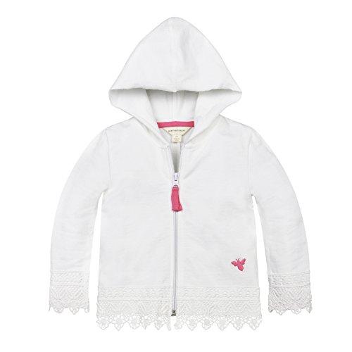 Burt's Bees Baby Girls' Organic Zip Hoodie, Cloud, 12 (Crochet Embroidered Sweater)