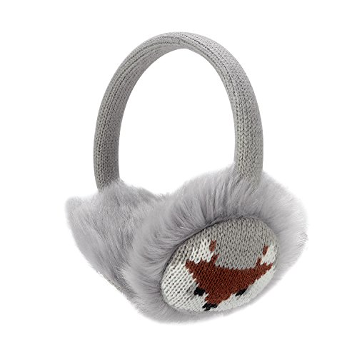 Sudwave Womens Girls Winter Fashion Adjustable Faux Fur EarMuffs Cartoon Ear Warmers (Gray)