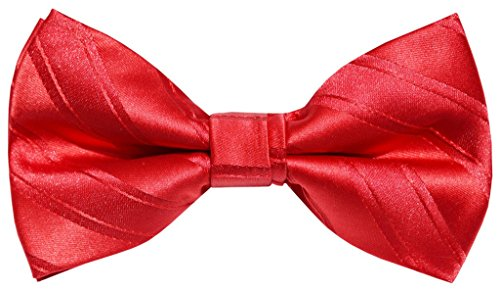 OCIA Mens Woven Microfiber Pre-tied Bow Tie Red - ND018 (Mens Dress Up Outfits)