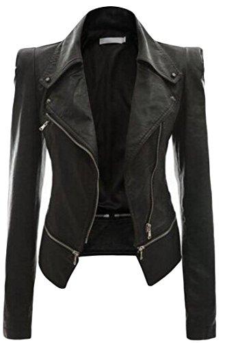 Leather amp;S Coat Jackets Women's Closure Zipper Lapel amp;W Slim Black M gUxRq