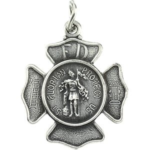 Amazon Com Round Saint Florian Fire Fighter Necklace In