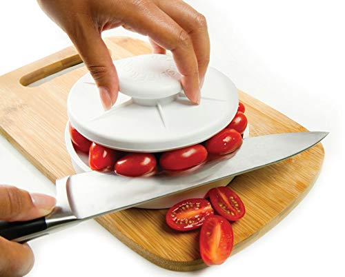 Chicken Pasta Tomatoes - Rapid Slicer, Food Cutter, Slice Tomatoes, Grapes, Olives, Chicken, Shrimp, Strawberries, Salads. Non-Slip Gadget Holder for Slicing All Different Foods Easily